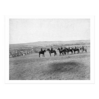 Military Men Survey a Distant Lakota Camp Postcard