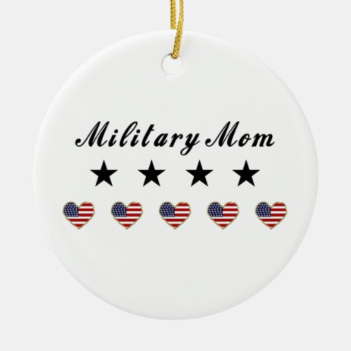 Military Mom Double-Sided Ceramic Round Christmas Ornament