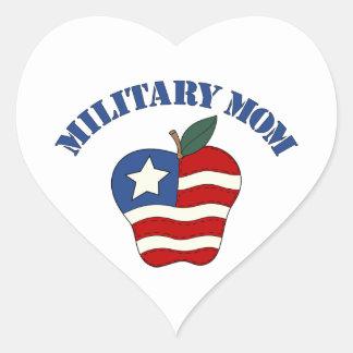 Military Mom Patriotic Apple Heart Sticker