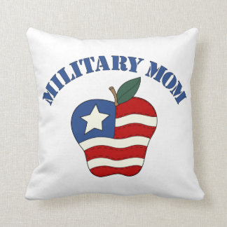 Military Mom Patriotic Apple Throw Pillow