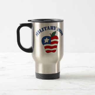 Military Mom Patriotic Apple Travel Mug