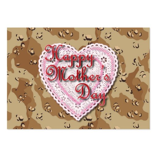 Military Mother's Day Laced Heart (Desert) Business Card