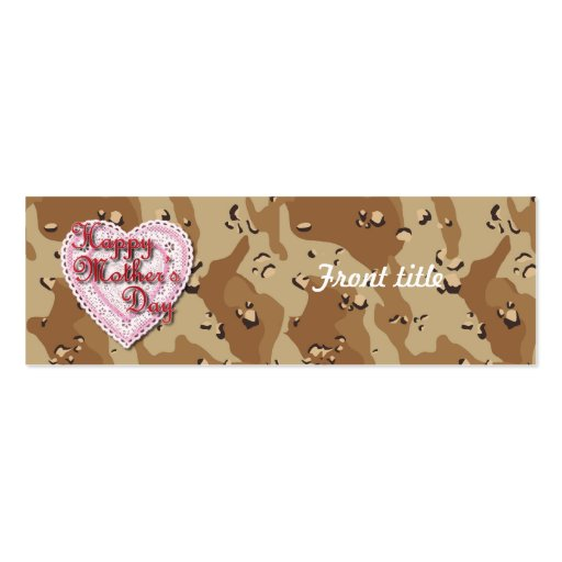Military Mother's Day Laced Heart (Desert) Business Card Template