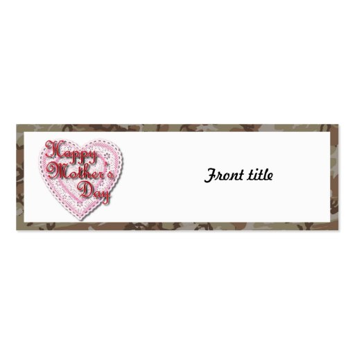 Military Mother's Day Laced Heart (Desert) Business Card Templates