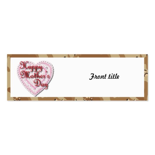 Military Mother's Day Laced Heart (Desert) Business Cards