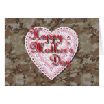 Military Mother's Day Laced Heart (Desert) Cards
