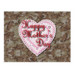 Military Mother's Day Laced Heart (Desert) Postcard
