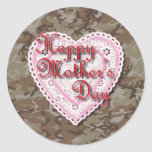 Military Mother's Day Laced Heart (Desert) Stickers