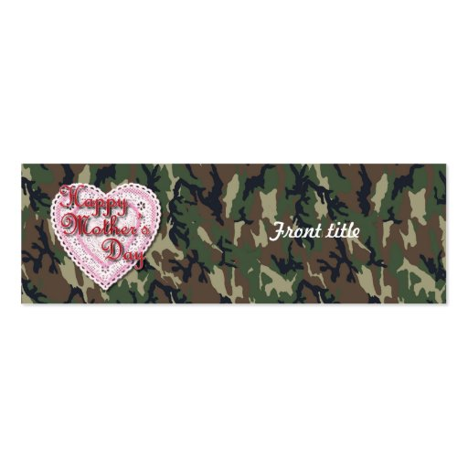 Military Mother's Day Laced Heart (Forest) Business Card Template