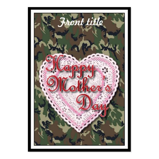 Military Mother's Day Laced Heart (Forest) Business Card