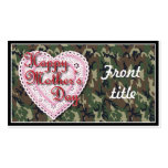 Military Mother's Day Laced Heart (Forest) Double-Sided Standard Business Cards (Pack Of 100)