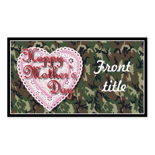 Military Mother's Day Laced Heart (Forest) Business Card Templates