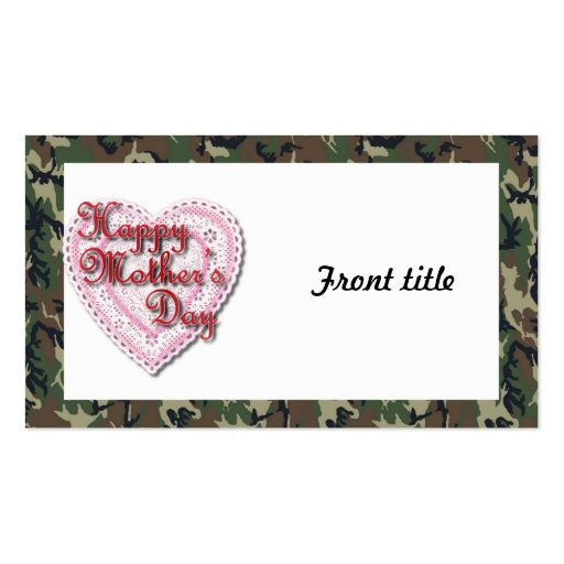 Military Mother's Day Laced Heart (Forest) Business Cards