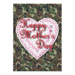Military Mother's Day Laced Heart (Forest) 5x7 Paper Invitation Card