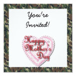 Military Mother's Day Laced Heart (Forest) 5.25x5.25 Square Paper Invitation Card