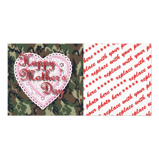 Military Mother's Day Laced Heart (Forest) Customized Photo Card