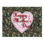 Military Mother's Day Laced Heart (Forest) Postcard