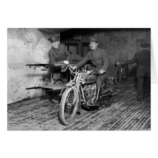 Military Motorcycle EMT, 1910s Card