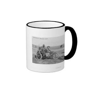 Military Motorcycle with Sidecar and Machine Gun Ringer Coffee Mug
