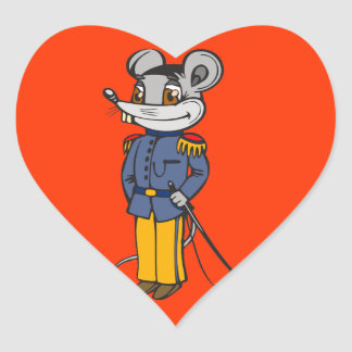 Military Mouse Solider Heart Sticker