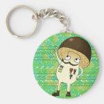 Military mushroom basic round button keychain