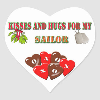 Military Navy Sailor Christmas Heart Sticker