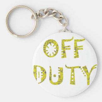 military Off Duty Black white yellow Keychain