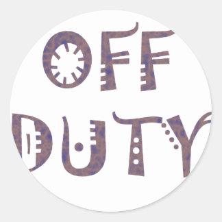 military Off Duty Black white yellow nice grey Round Stickers