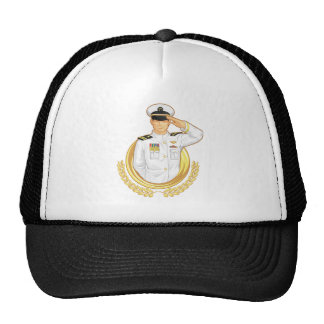 Military Officer in Salute Gesture Trucker Hat