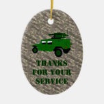 Military Offroad Truck Tow Missile Launcher Christmas Tree Ornament