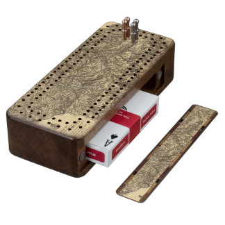 Military Operations of the Atlanta Campaign 3 Walnut Cribbage Board