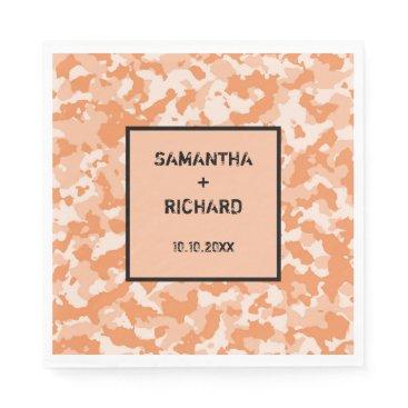 Military Orange Camo Wedding Napkin