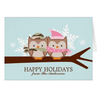 Military Owl Couple Christmas Cards