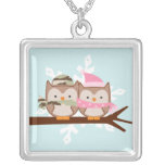 Military Owl Couple Silver Plated Necklace
