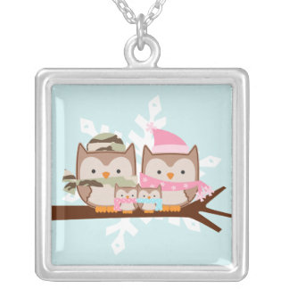 Military Owl Family Square Pendant Necklace