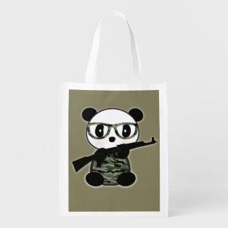 Military Panda Bear Grocery FoldUp Tote Bag Reusable Grocery Bag