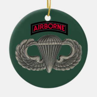 Military Parachutist Double-Sided Ceramic Round Christmas Ornament