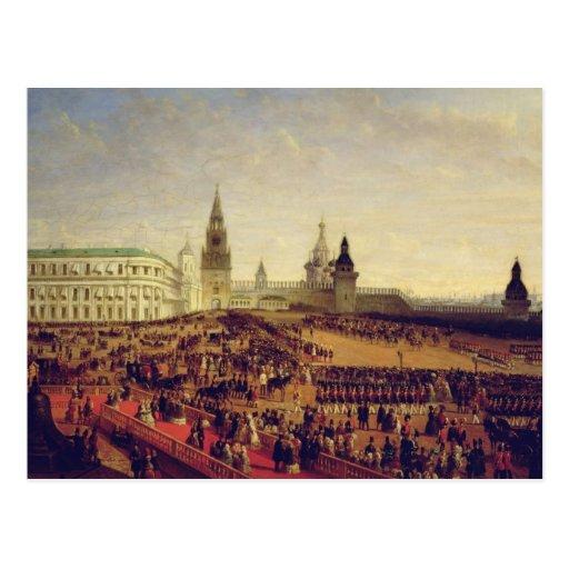 Military parade during Coronation of Alexander Postcard