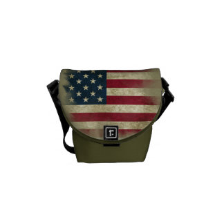 Military Patriotc US Flag. Land of the Free Courier Bag