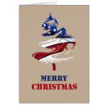Military Patriotic American Merry Christmas Tree Card