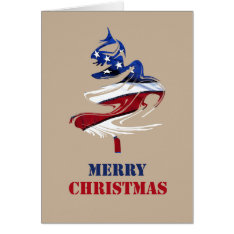Military Patriotic American Merry Christmas Tree Card at Zazzle