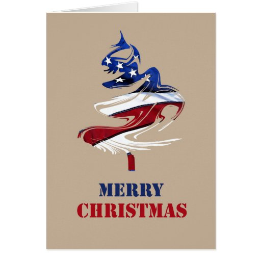 Military Patriotic American Merry Christmas Tree Greeting Card