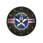Military Patriotic Vintage Star Round Wallclock