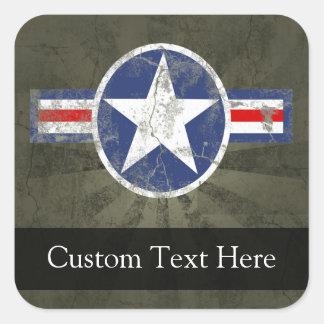 Military Patriotic Vintage Star Square Sticker