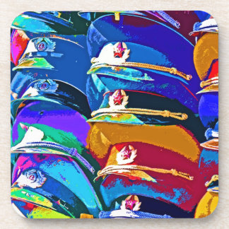 Military Peaked Caps / Hats, Artistic Pattern Coaster