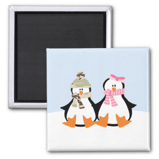 Military Penguin Couple 2 Inch Square Magnet