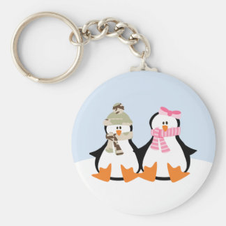 Military Penguin Couple Basic Round Button Keychain