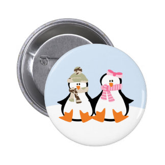 Military Penguin Couple Button
