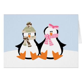 Military Penguin Couple Card