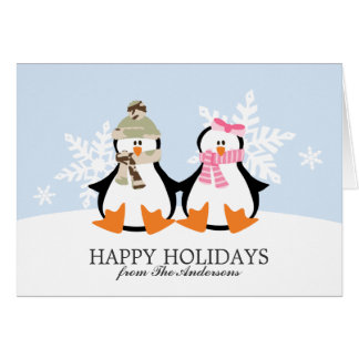 Military Penguin Couple Christmas Cards